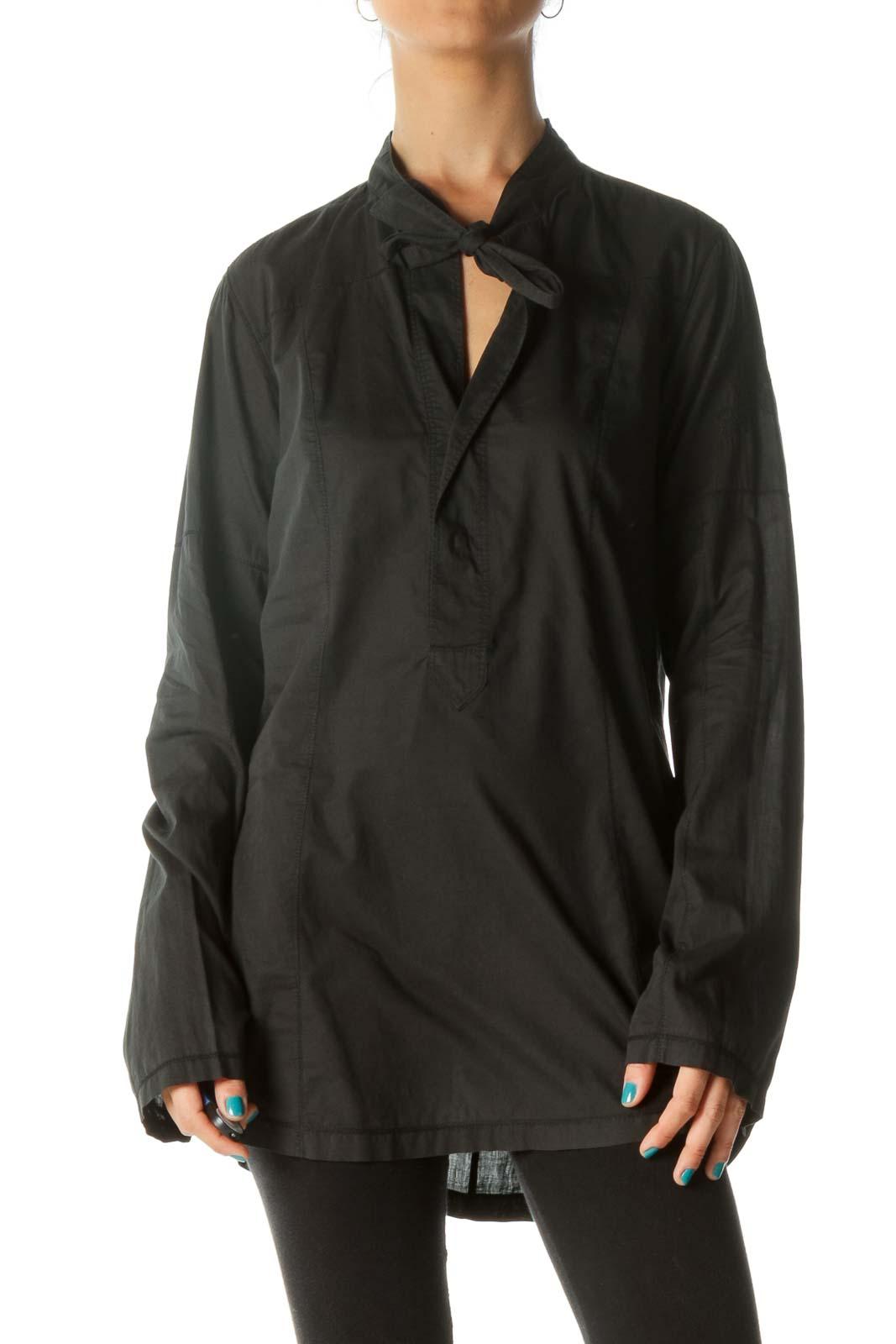 Black Tie Blouse Front