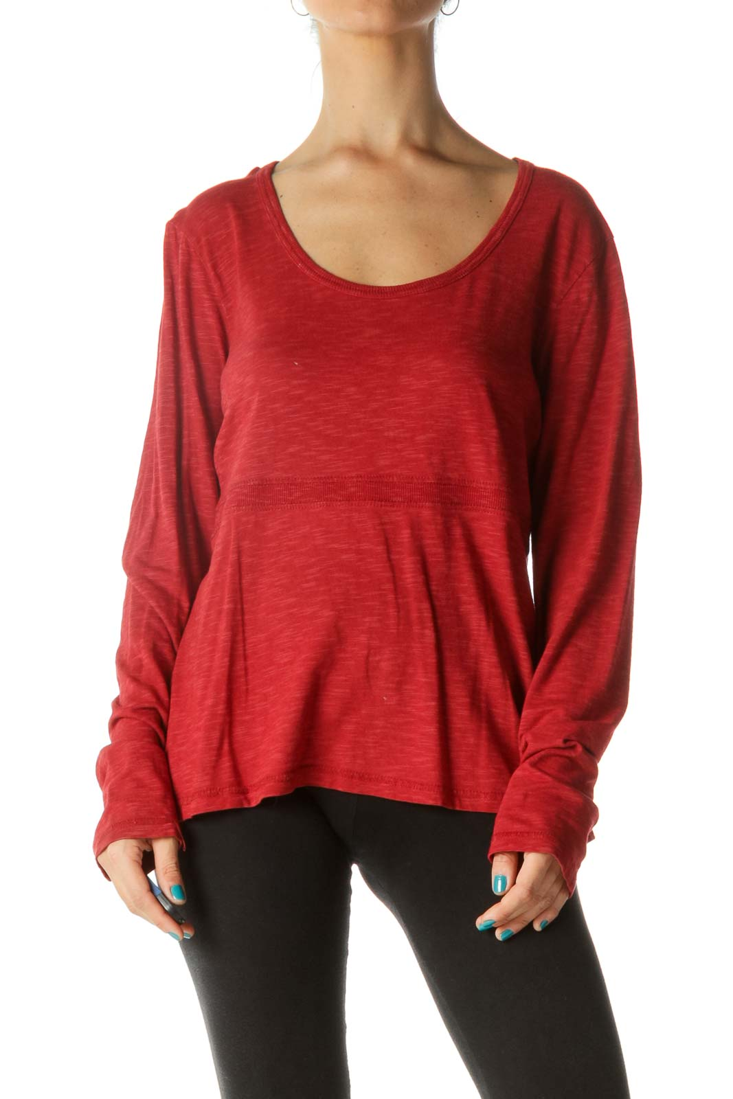Red Round Neck Long Sleeve Shirt Front