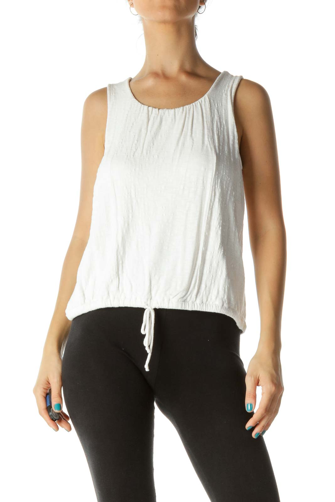 Cream Round Neck Scrunch Tank Top Front