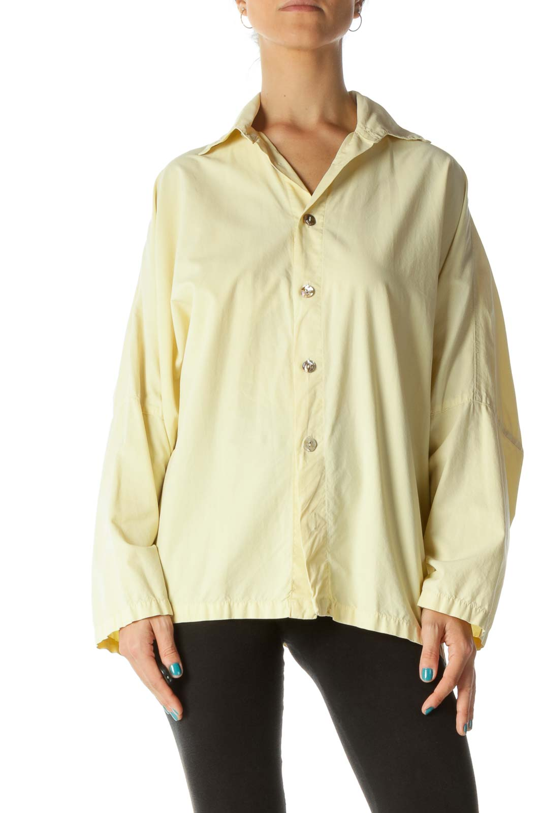 Yellow Oversized Button-Up Shirt Front