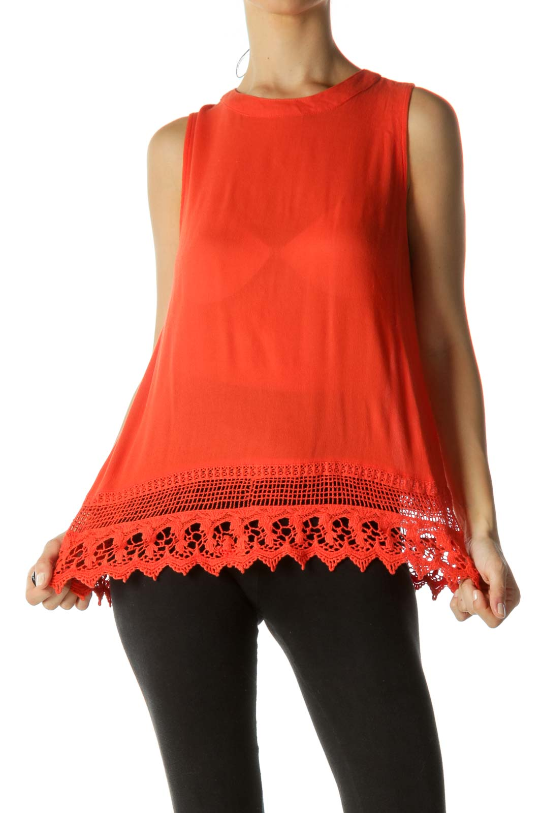 Orange Crocheted Tank Top Front