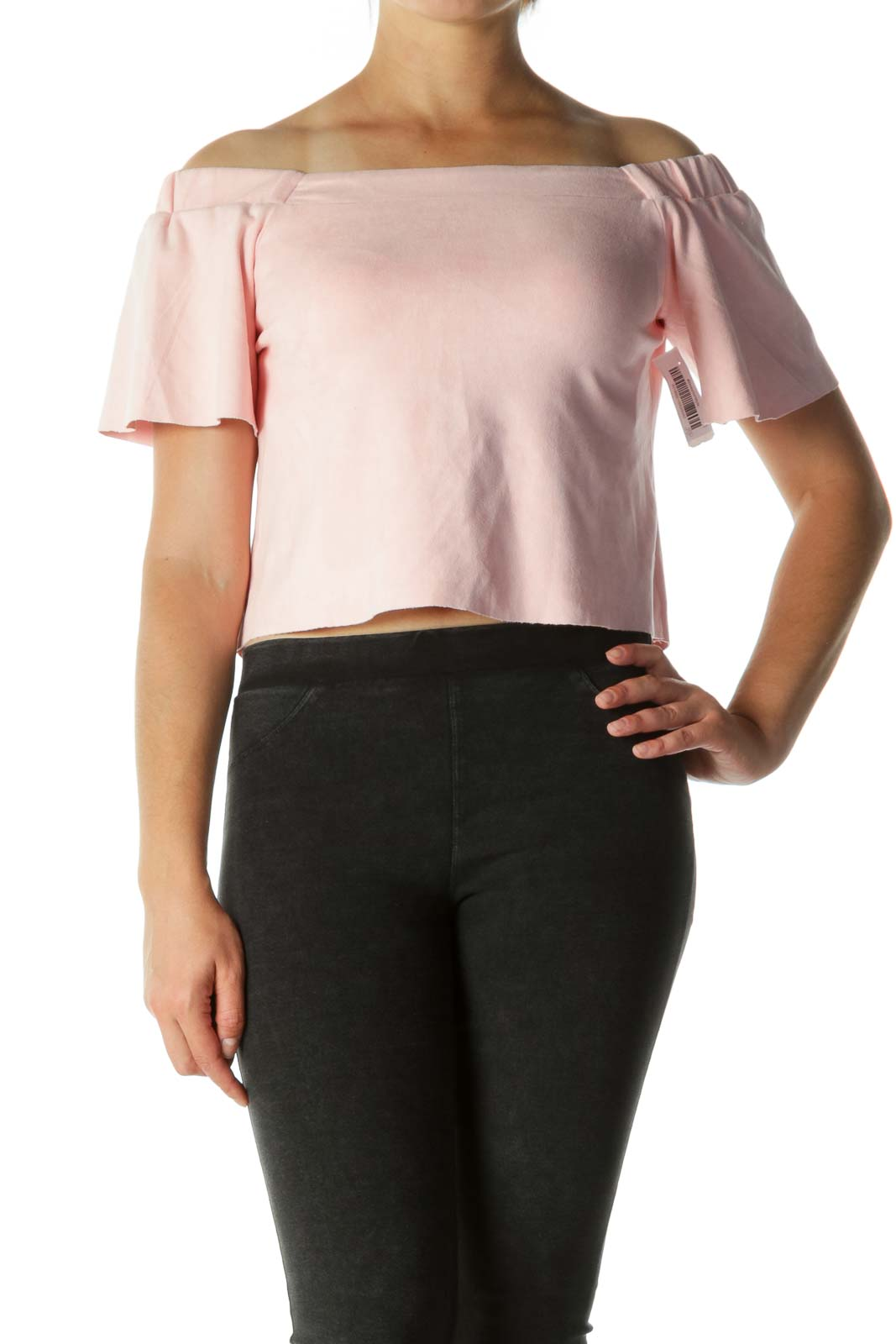 Pink Pleated Sleeve Off-Shoulder Blouse Front