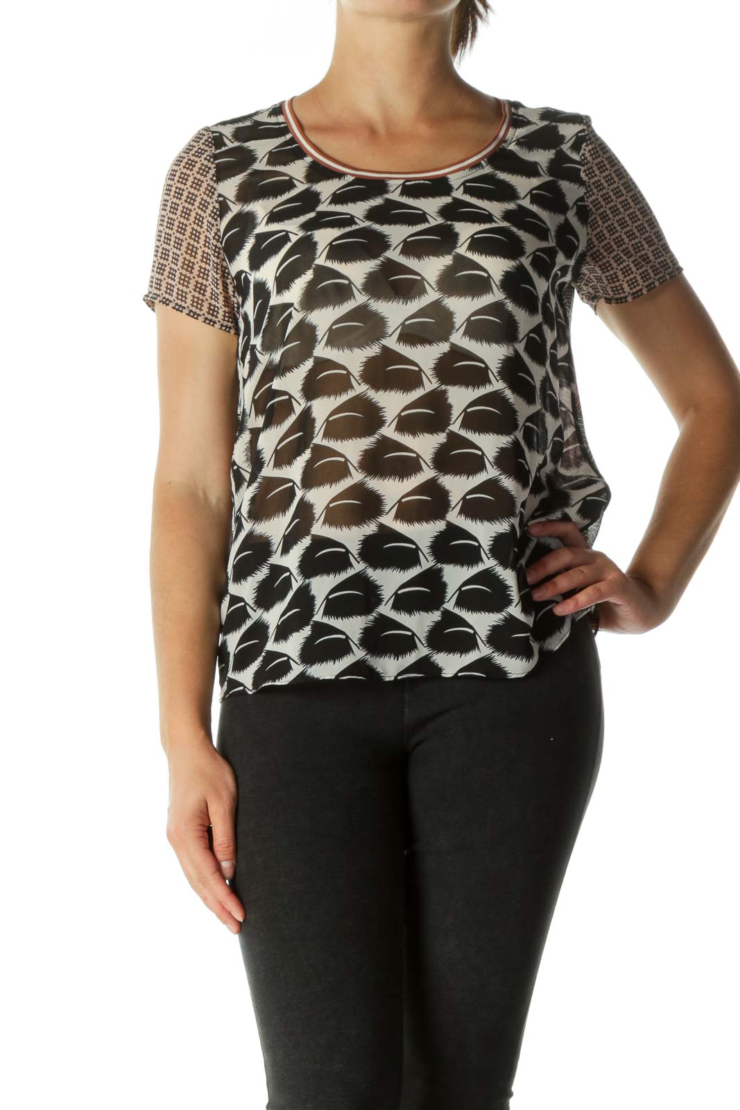 Black & Pink Sheer Contrast Pattern T-shirt Front