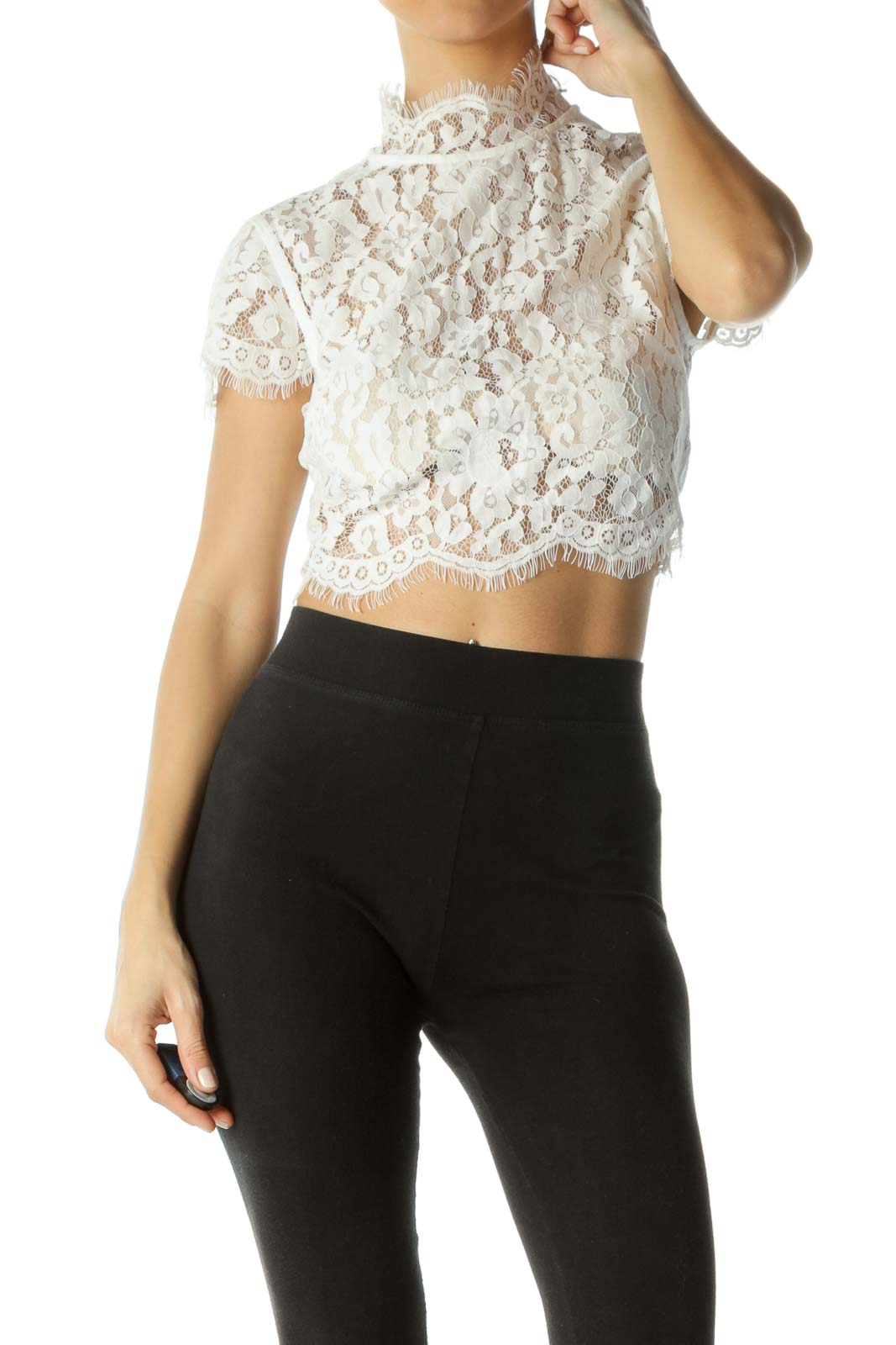 White Zippered Lace Crop Top Front