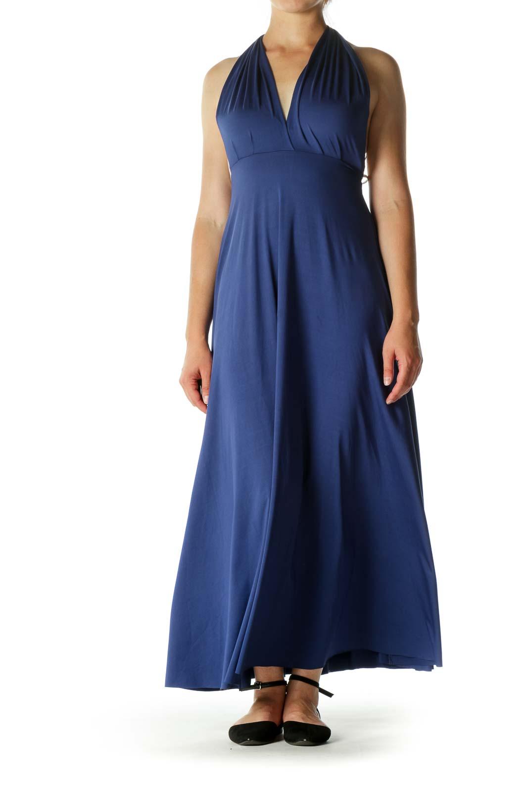 Blue Empire Cut Stretch Evening Dress Front