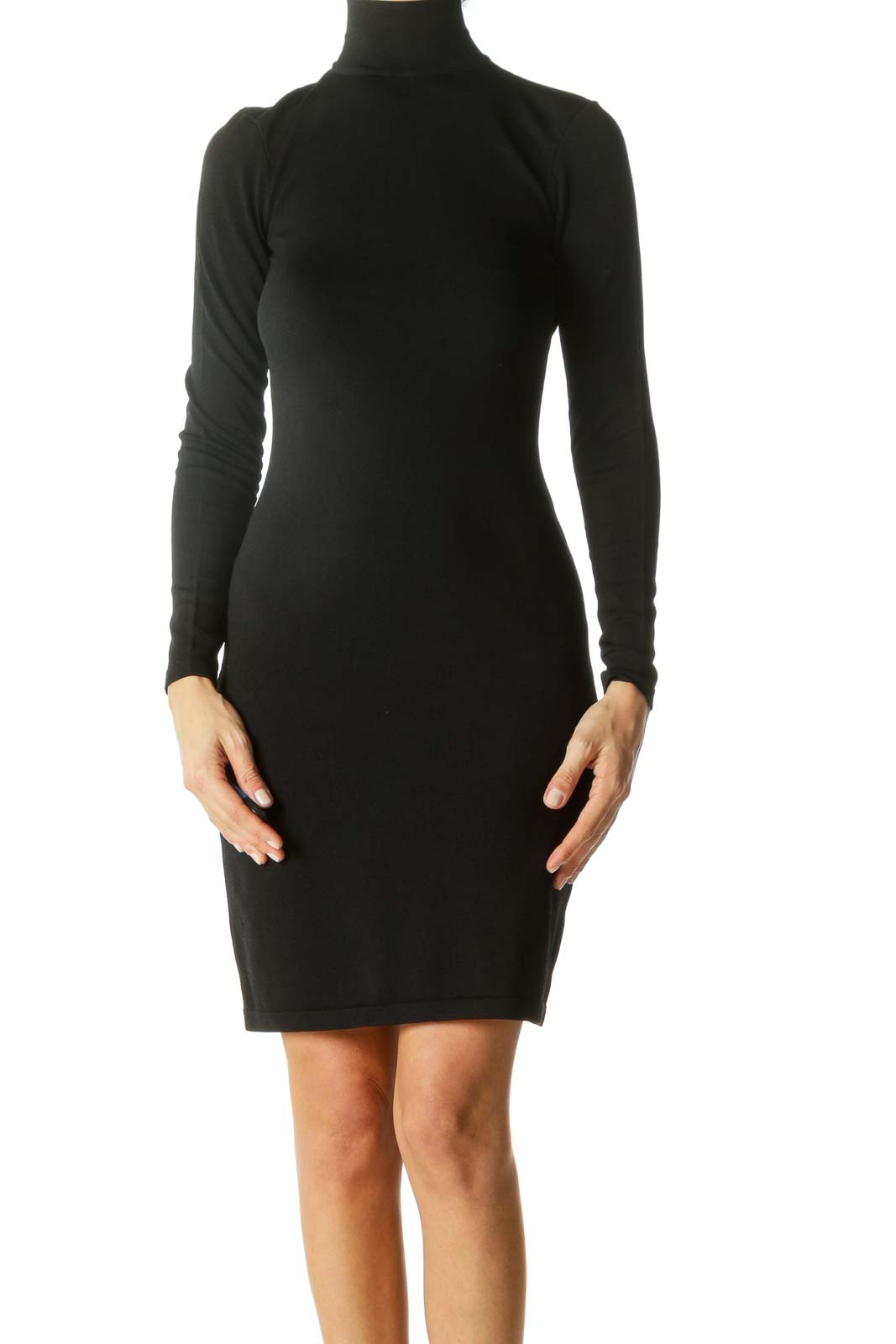 Black Textured High-Neck Long Sleeve Bodycon Dress Front