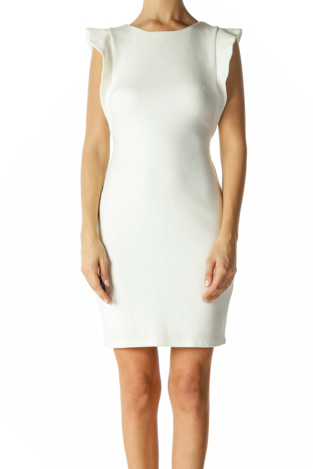 White Round Neck Flared Cap Sleeves Stretch Work Dress Front