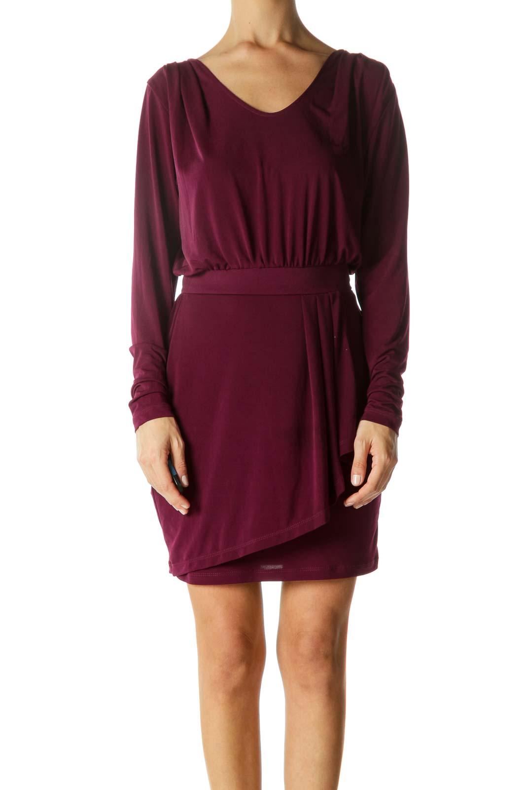 Purple Round Neck Cinched-Waist Stretch Cocktail Dress Front