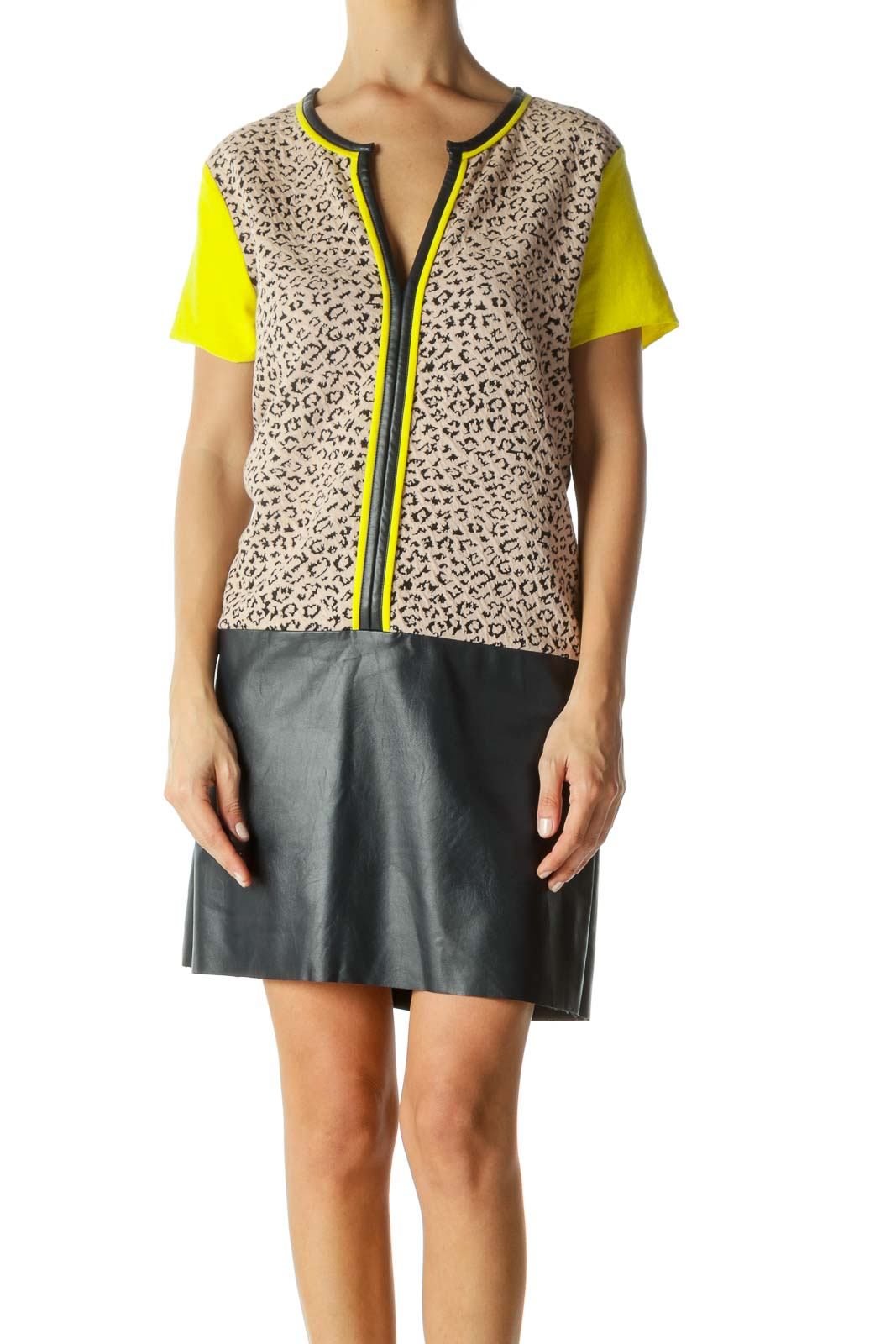 Beige Black Yellow Animal Textured Knit Contrasting Piping Mixed-Media Dress Front