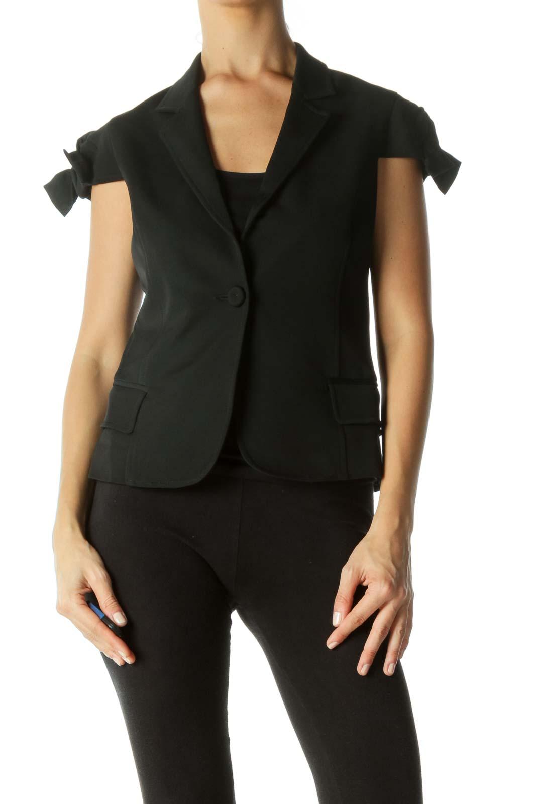 Black Bow Sleeves Detail Short Sleeve Blazer Front