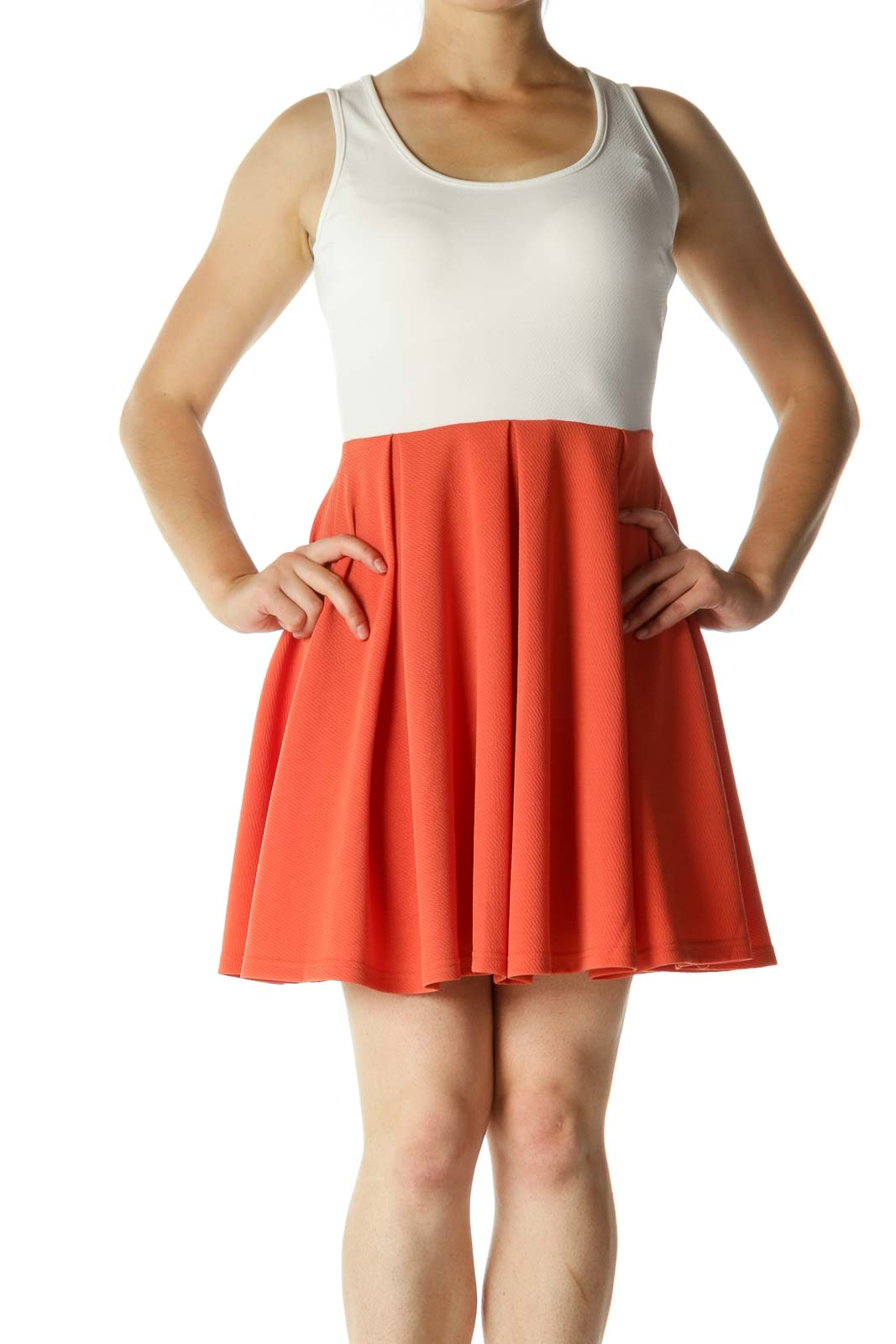 Cream Burnt Orange Textured Stretch A-Line Day Dress Front