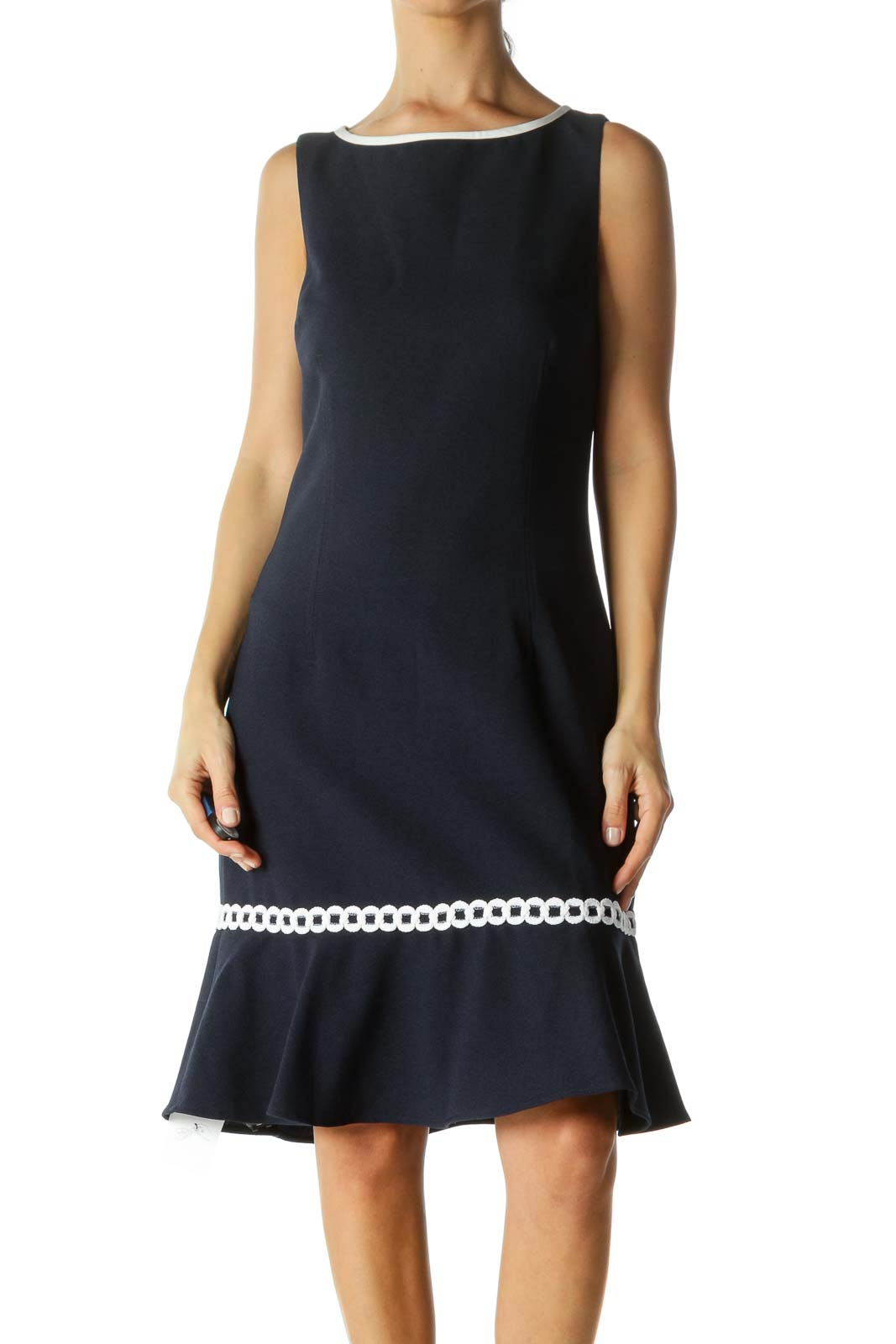 Navy Bottom Flared Midi Dress Front