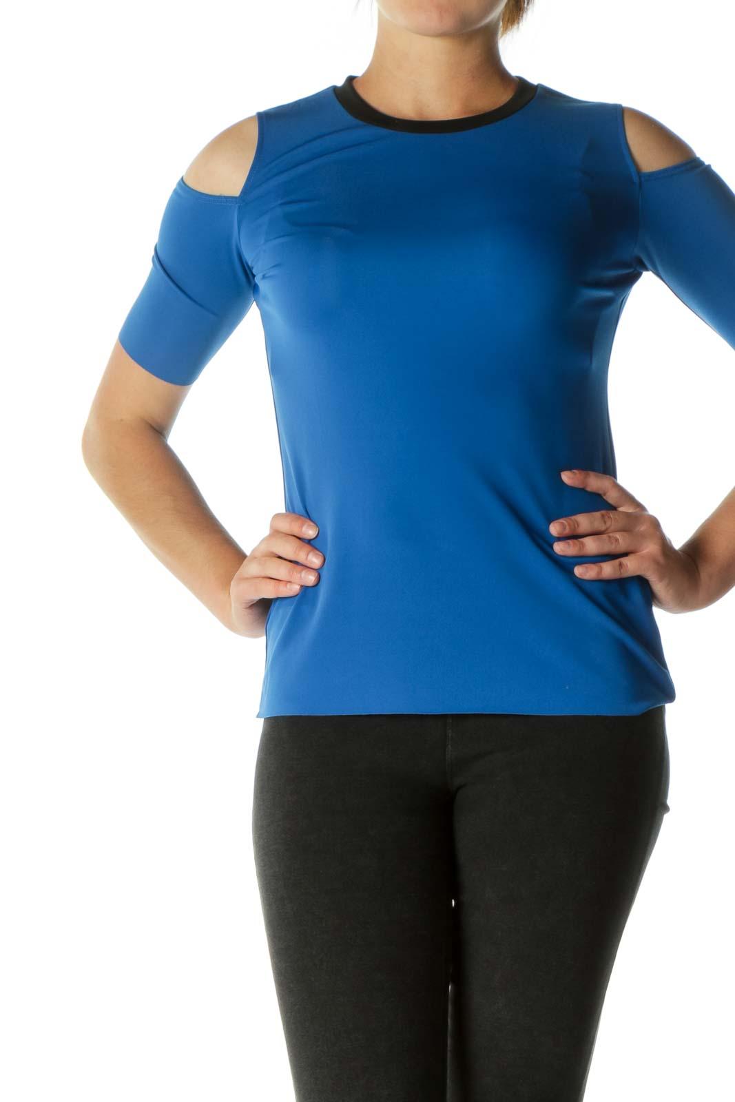 Navy Open-Shoulder Elastic T-shirt  Front