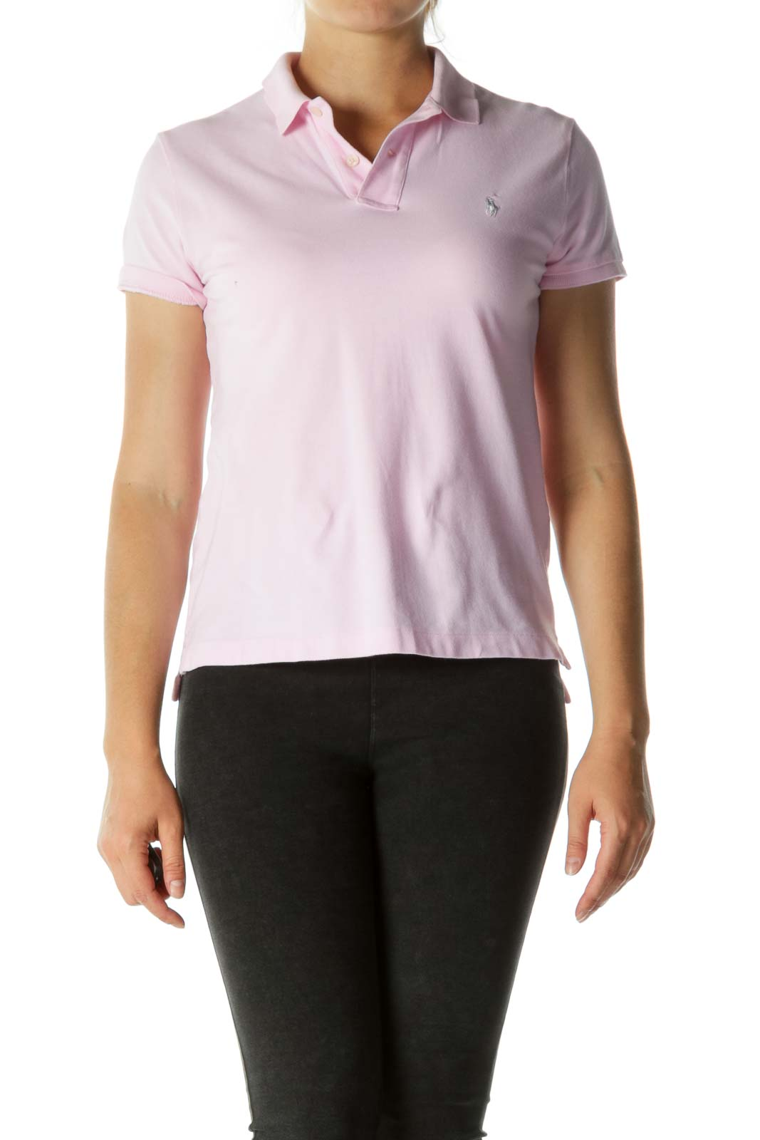 Pink V-neck Short Sleeve Polo Shirt (Car Make Logo Embroidery on Sleeve) Front