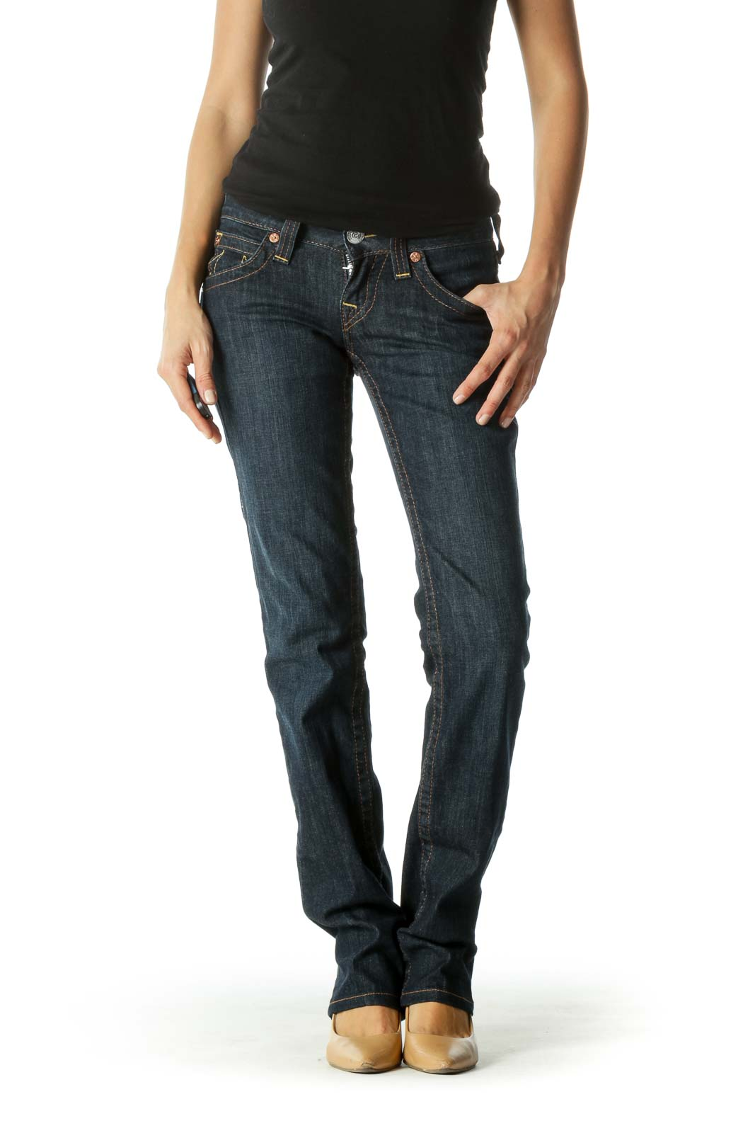 Blue Dark-Wash Pocketed Straight Leg Denim Jeans Front