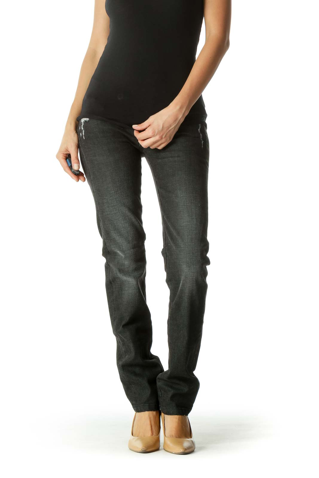 Gray Black Contrasting Applique Detail Distressed Denim Pants Front