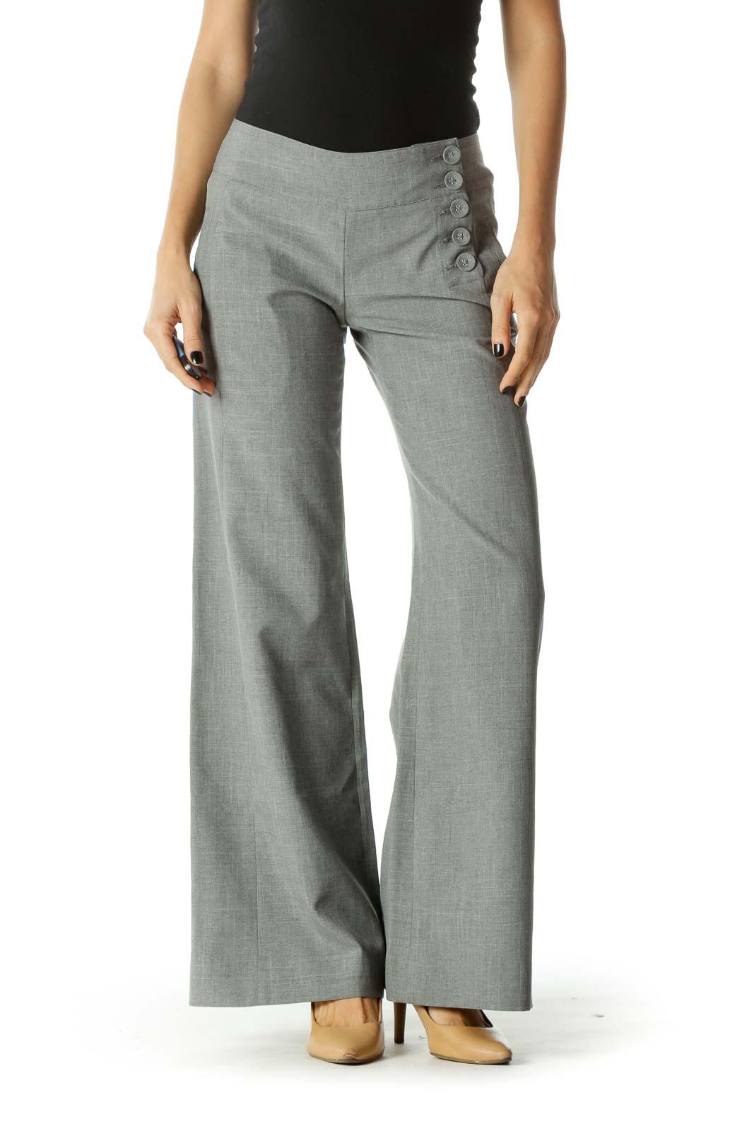 Gray Buttoned Details Wide Leg Pants Front