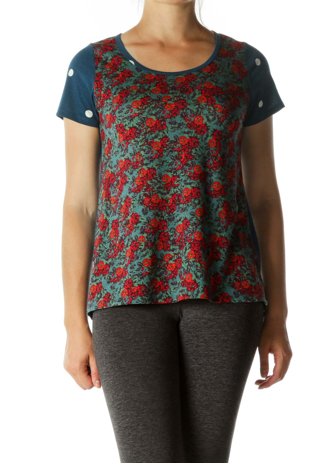 Red Floral & Blue Polka Dots Short Sleeve T-shirt  Front