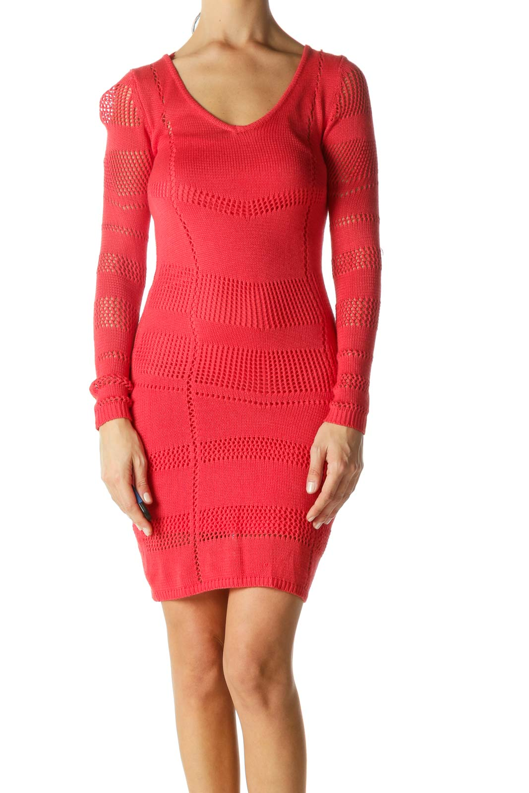 Red Crocheted Fitted Dress Front