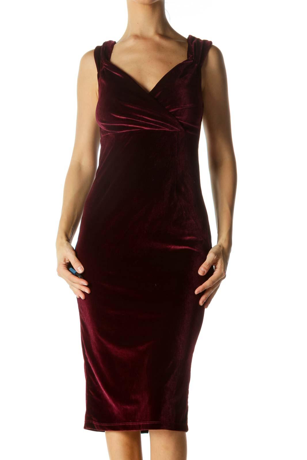 Burgundy Velvet Fitted Cocktail Midi Dress Front