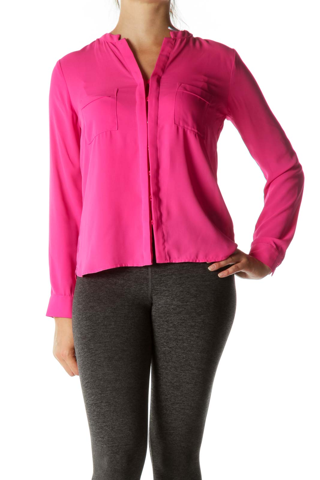 Pink Buttoned Long Sleeve Shirt Front
