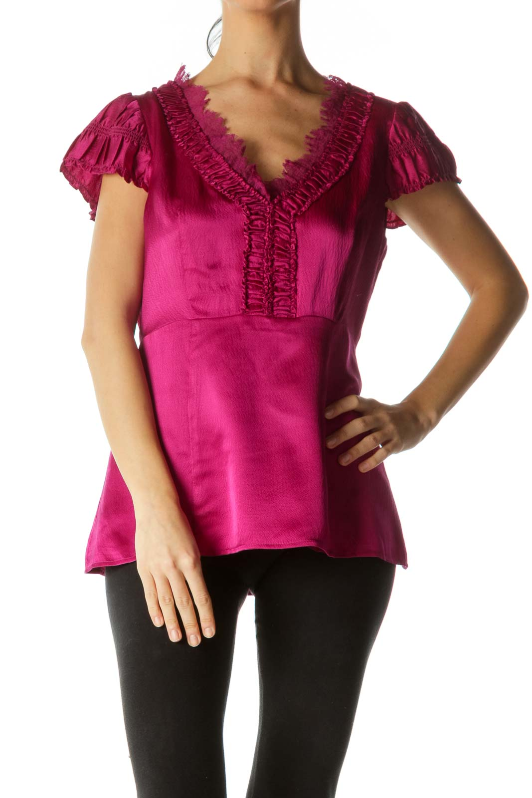 Magenta Silk Lace Ruched Top Front
