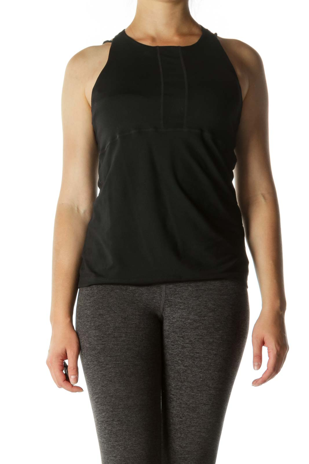Black Back Cut-Out Stretch Active Top Front