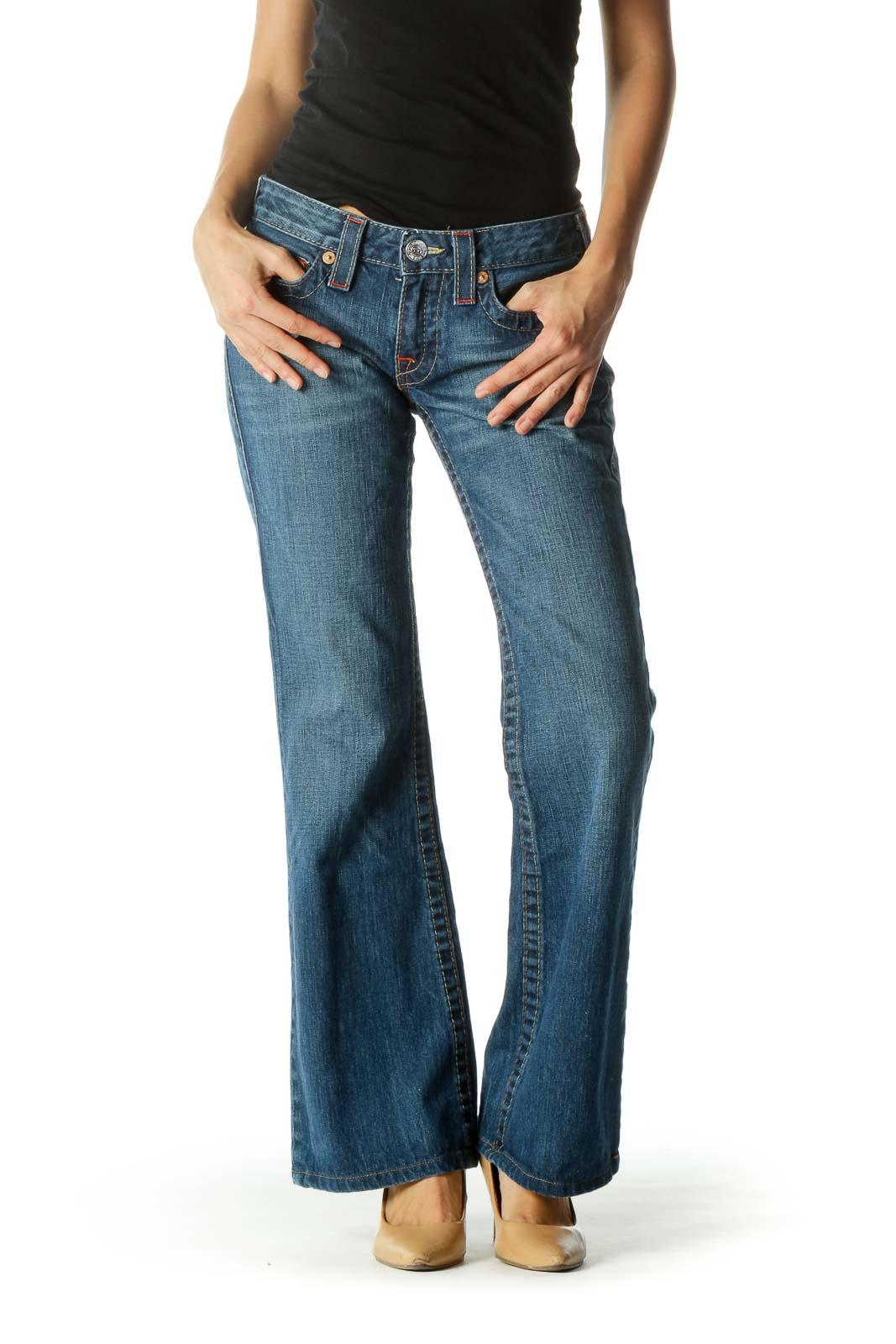 Blue Medium-Wash Stitched Flared Denim Jeans Front
