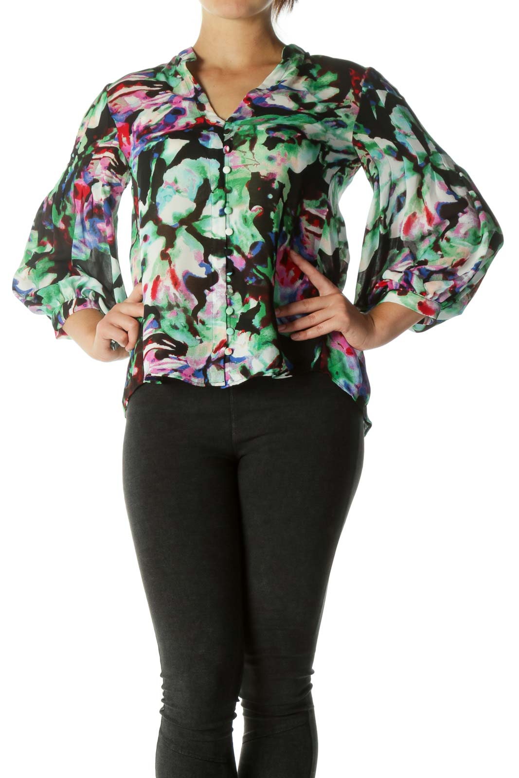 Multicolor V-Neck Fabric Buttons Abstract Print Shirt Front