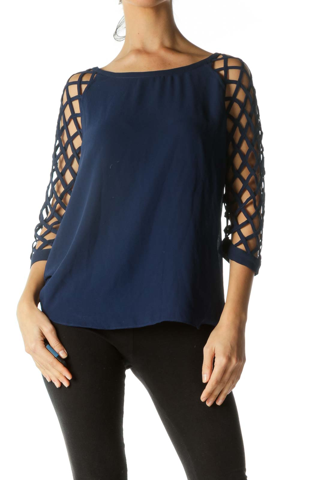 Blue Net Sleeves Round Neck Top Front