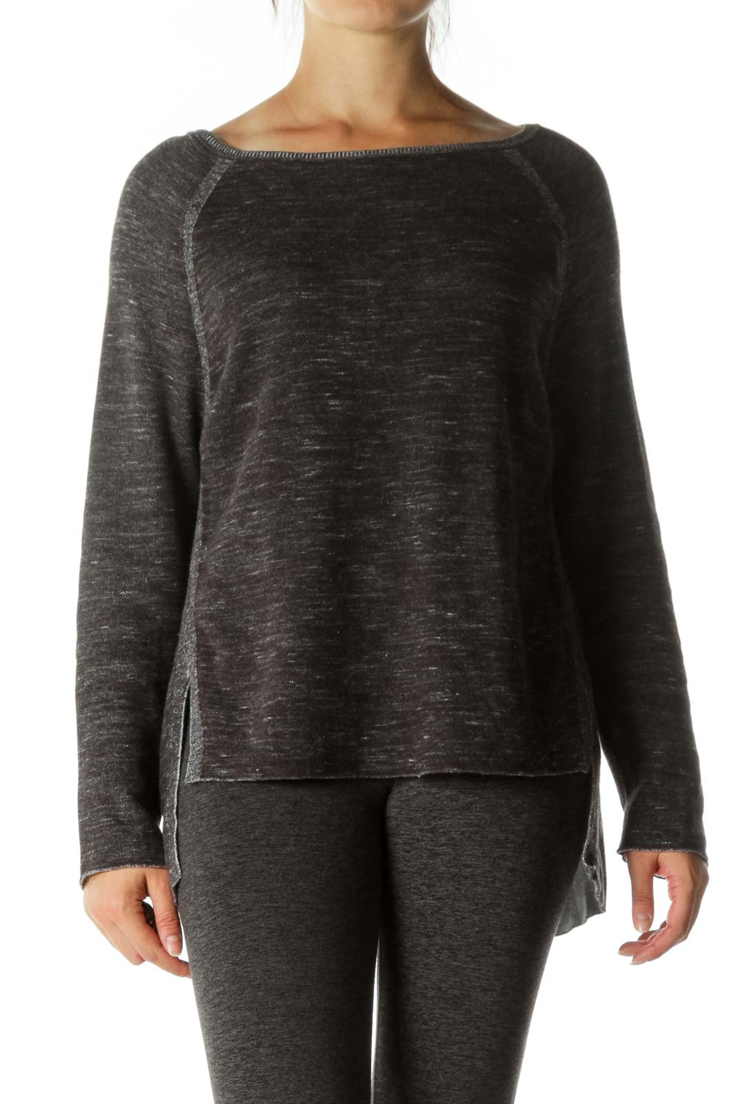 Gray White Round Neck Long Sleeve Stretch Sweater Front