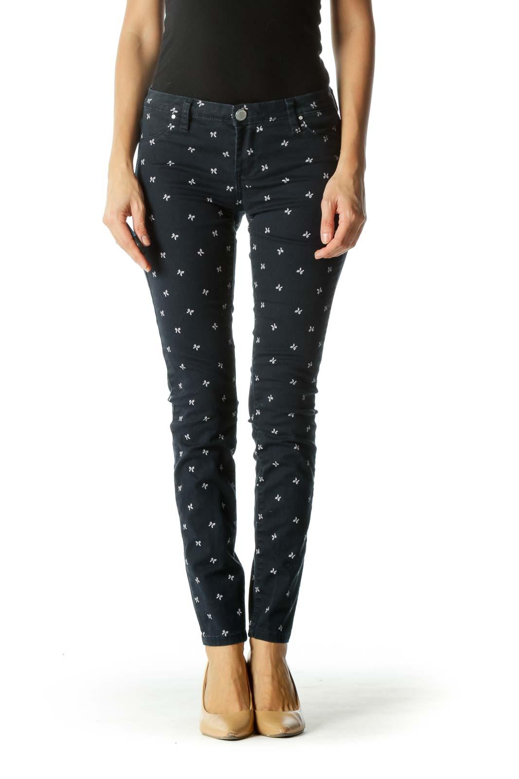 Blue Bow Patterned Slim-Fit Pants Front