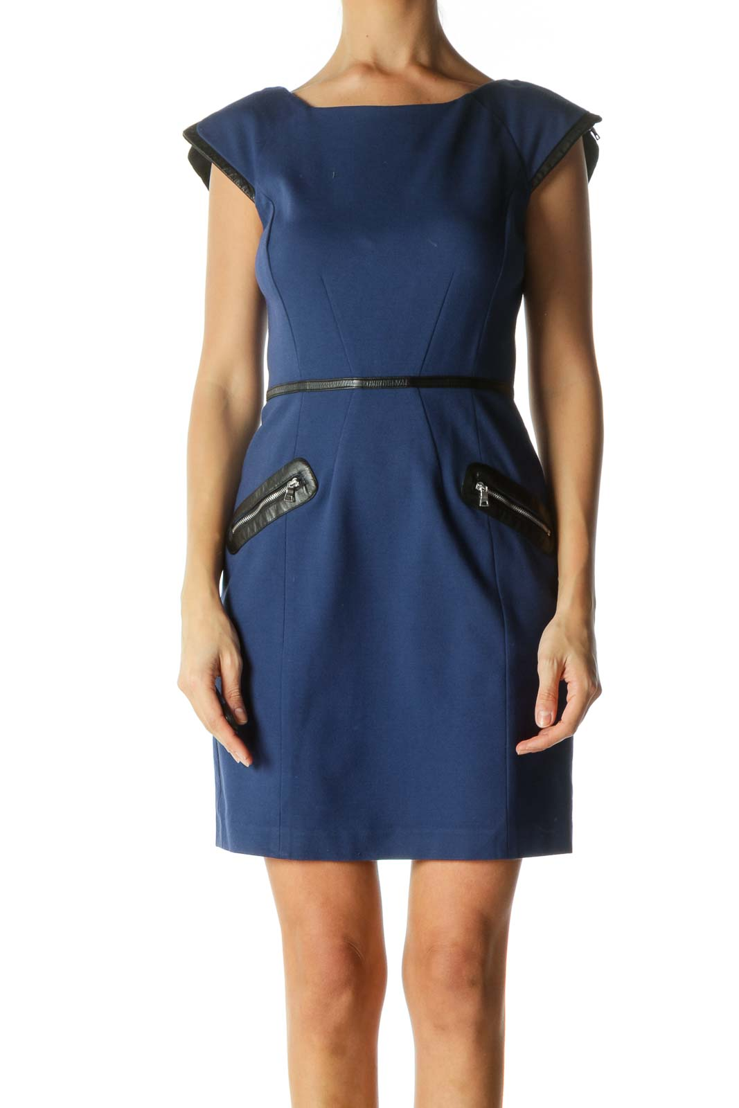 Blue and Black Zippered Back Sheath Dress Front
