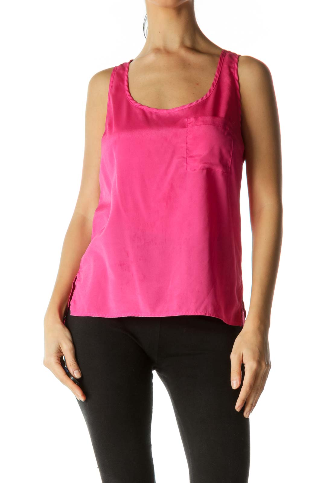 Pink Open Cut-Out Back Stretch Tank Top Front