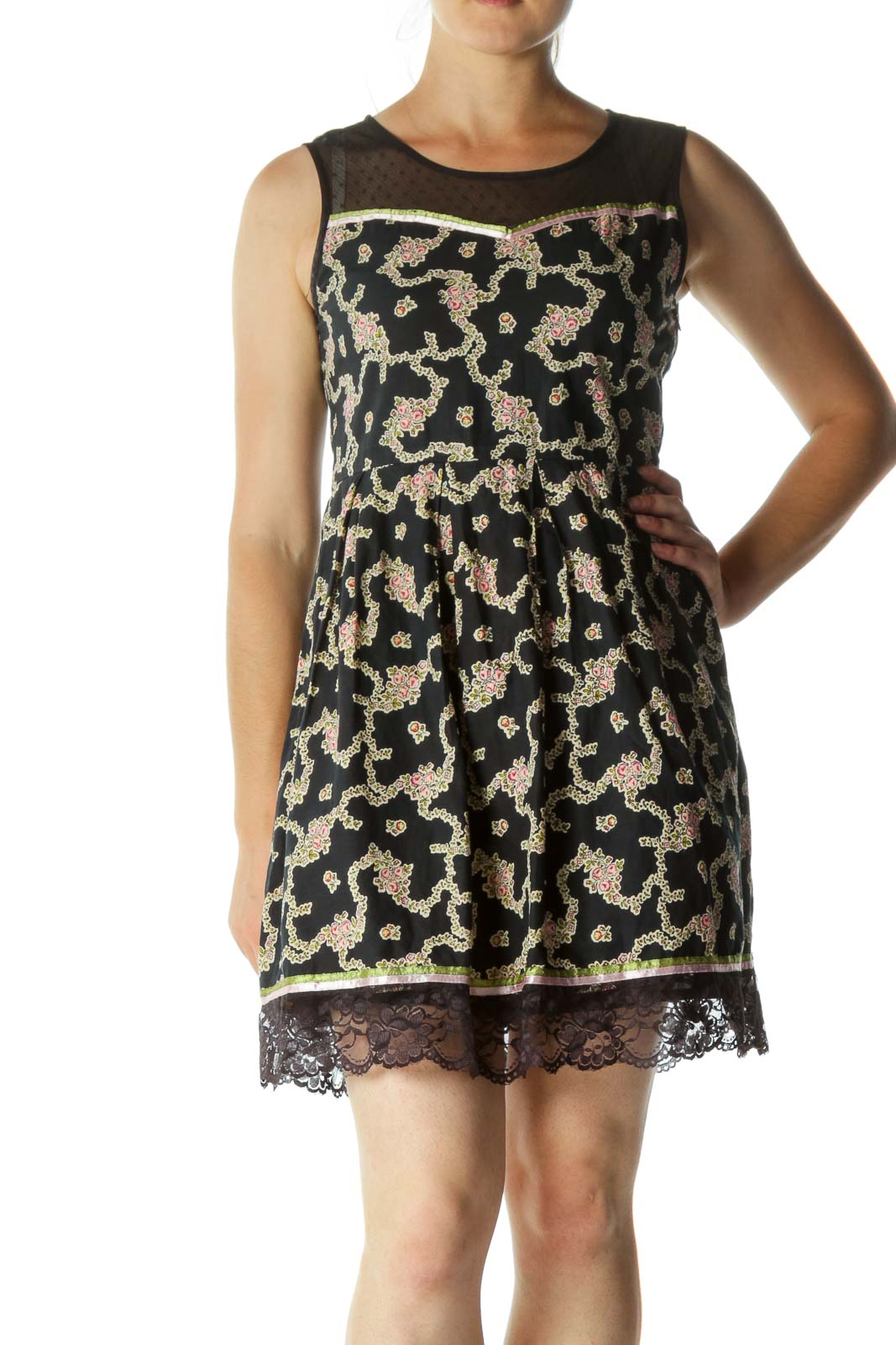 Black Blue Pink Beige 100% Cotton Floral Print Mixed Media Dress Front