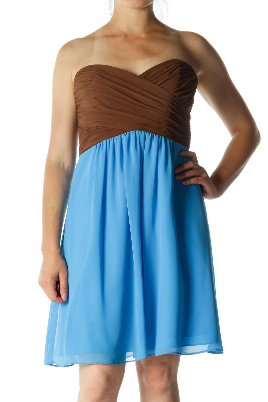 Blue and Brown Pleated Strapless Dress Front