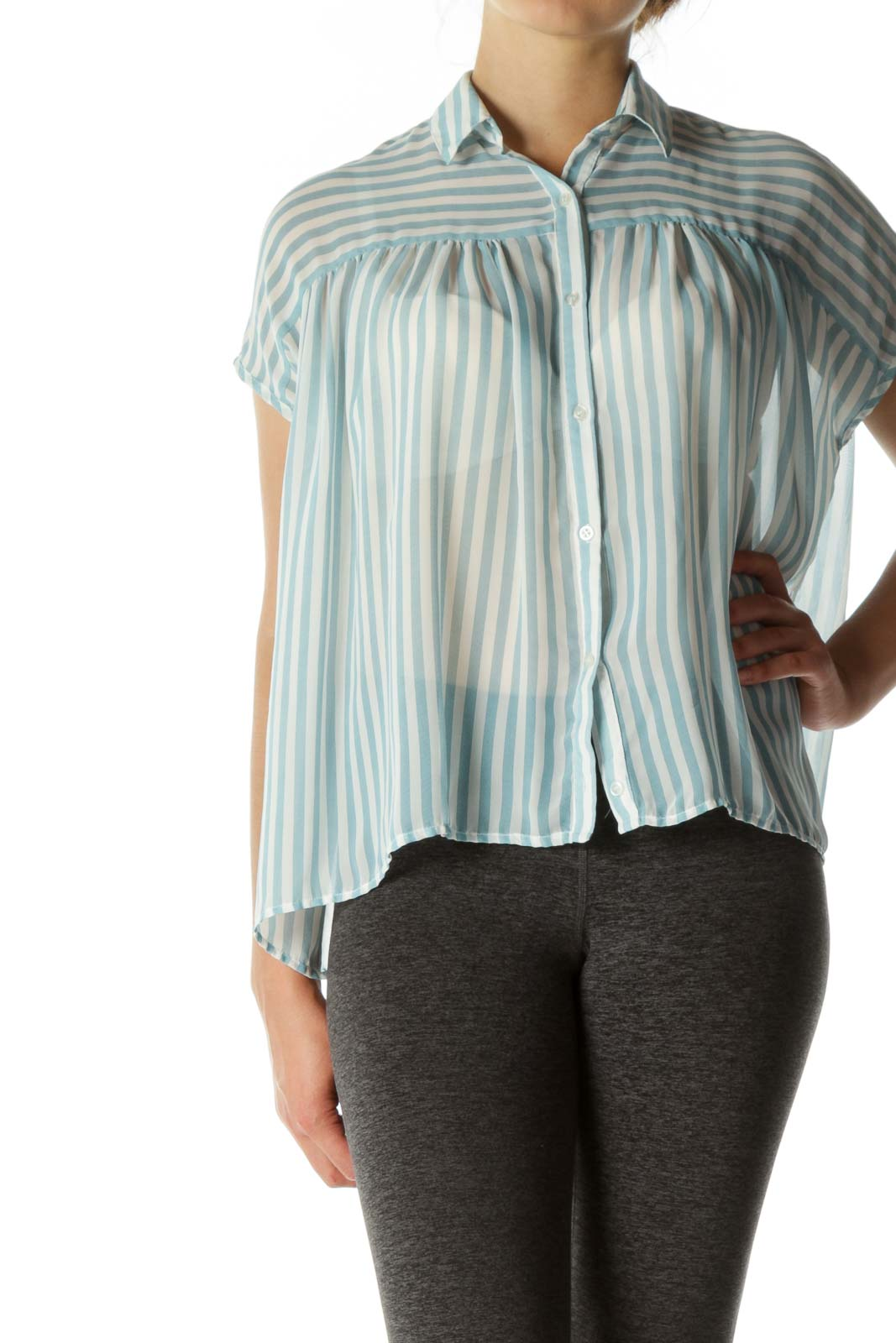 Blue White Striped Translucent Button Top Front