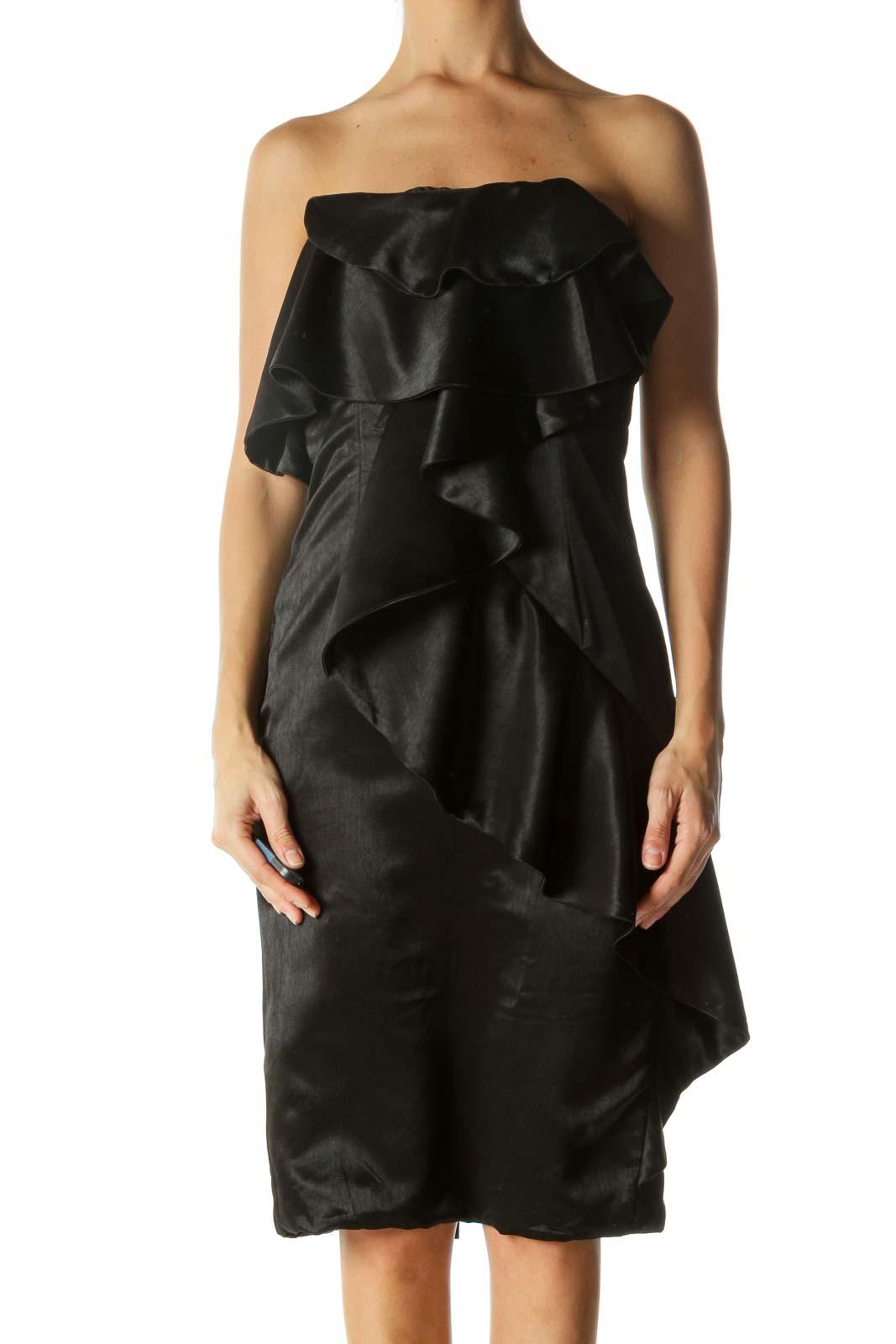Black Ruffled Strapless Dress Front