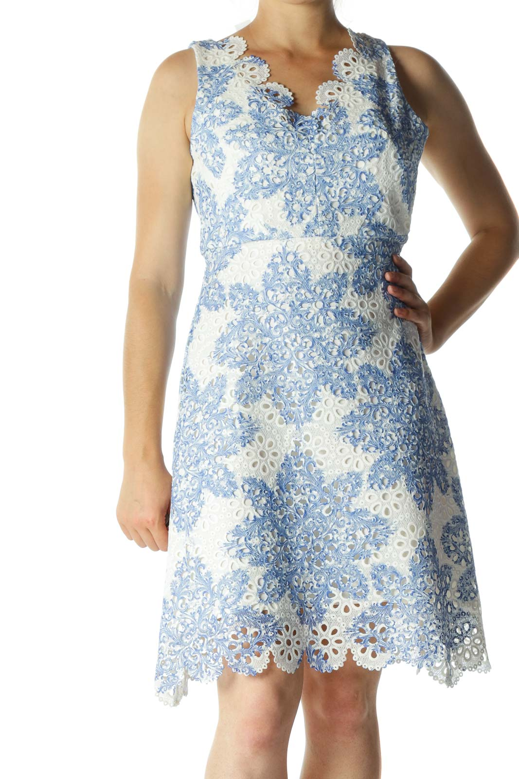 Cream Blue Eyelet Knit Textured Day Dress Front