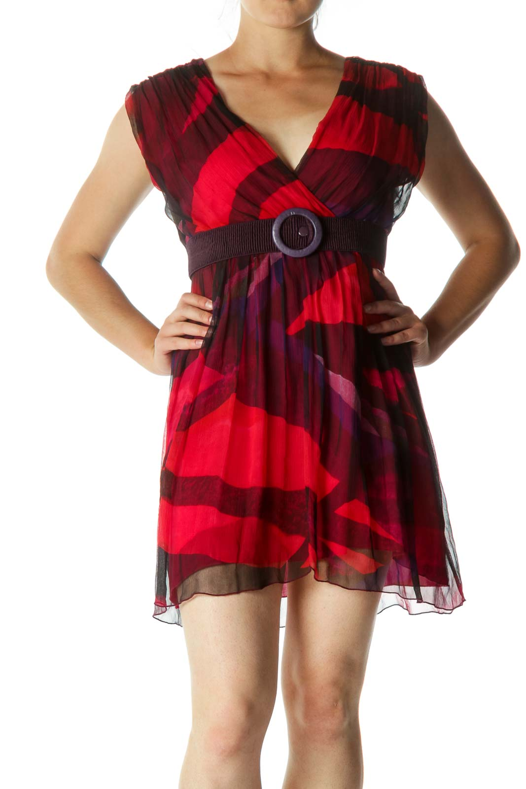 Red Black Blue Silk Print Belted Day Dress Front