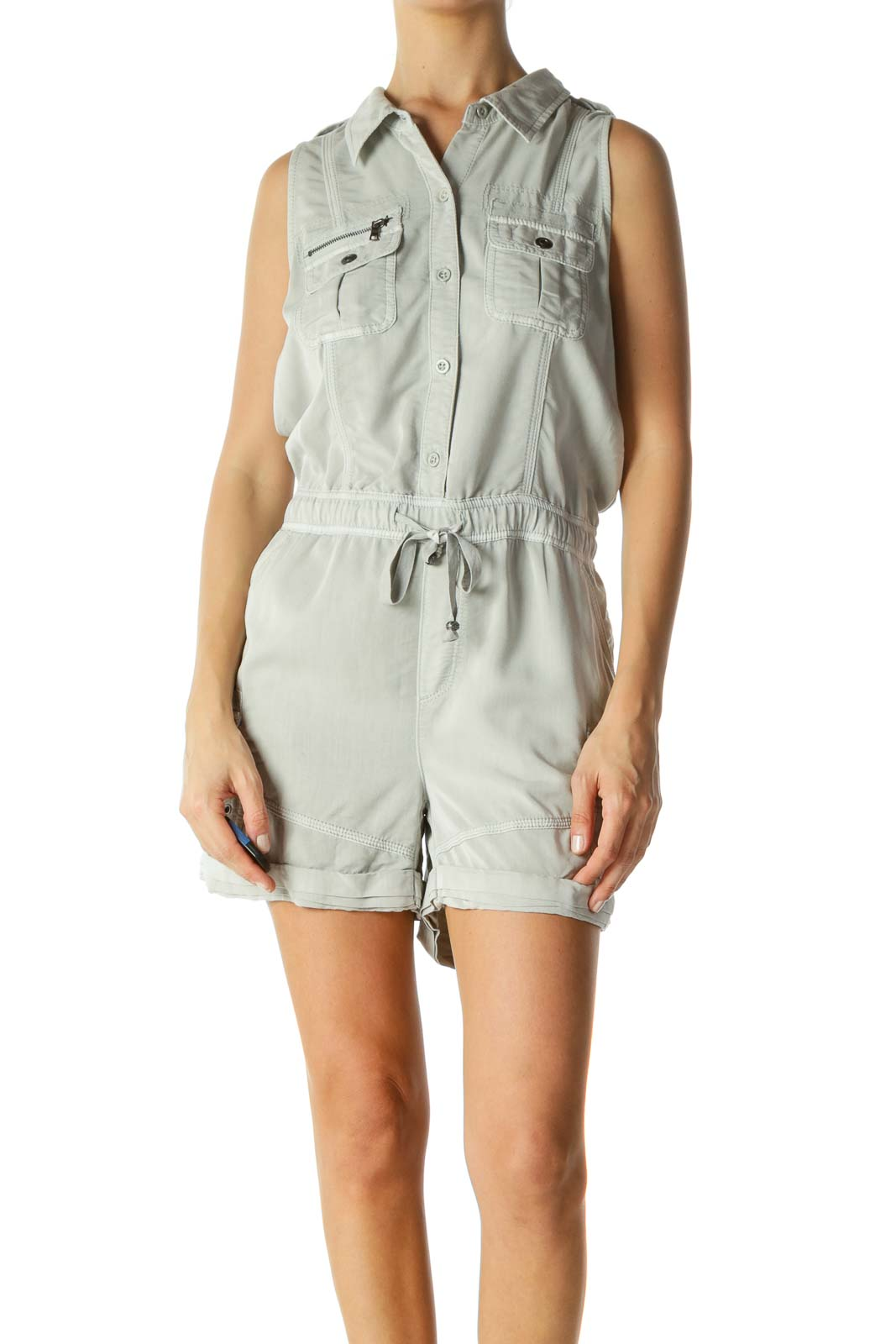 Gray Pocketed Drawstring Zippered Field Romper Front