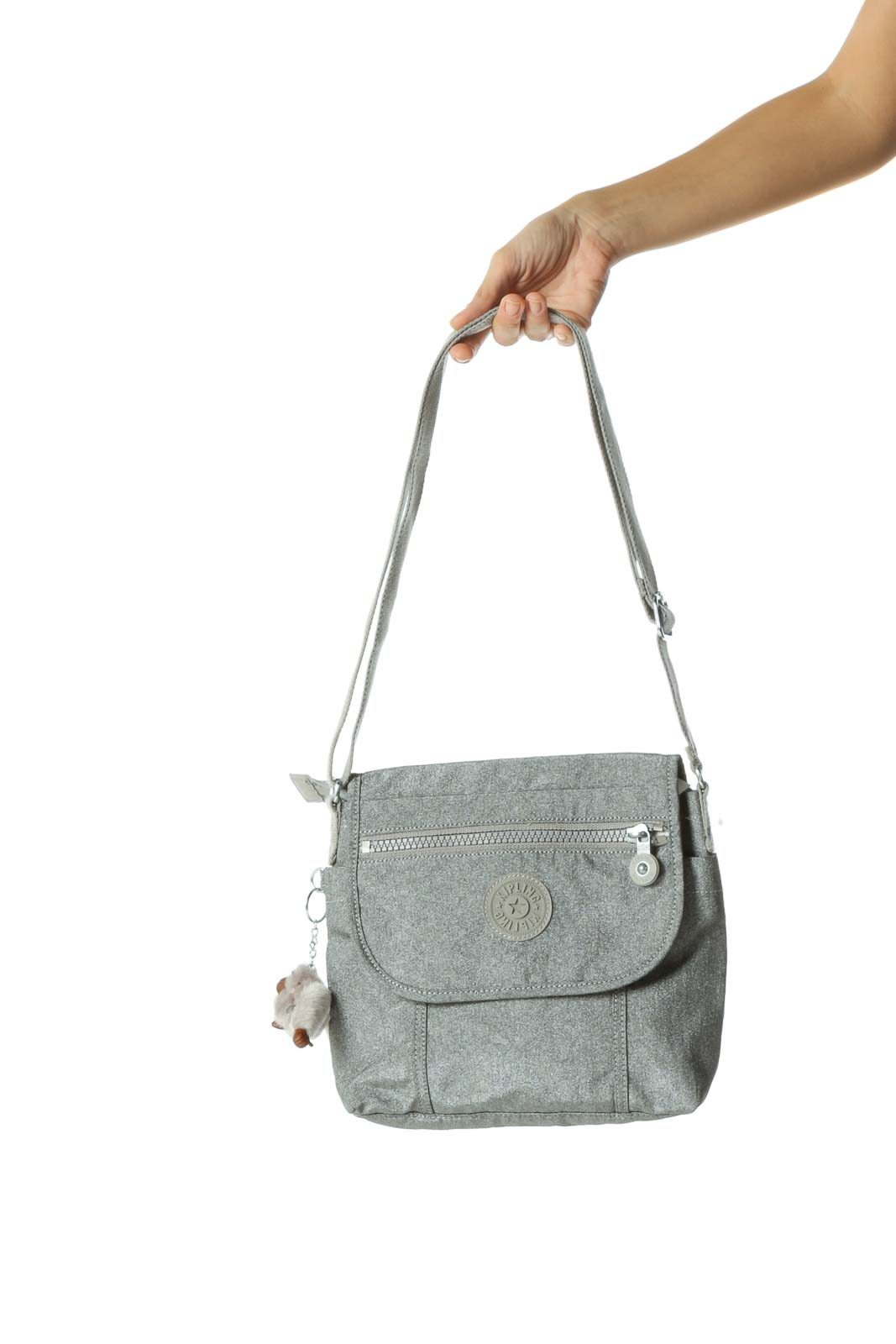 Gray Metallic Zippered Crossbody Bag Front