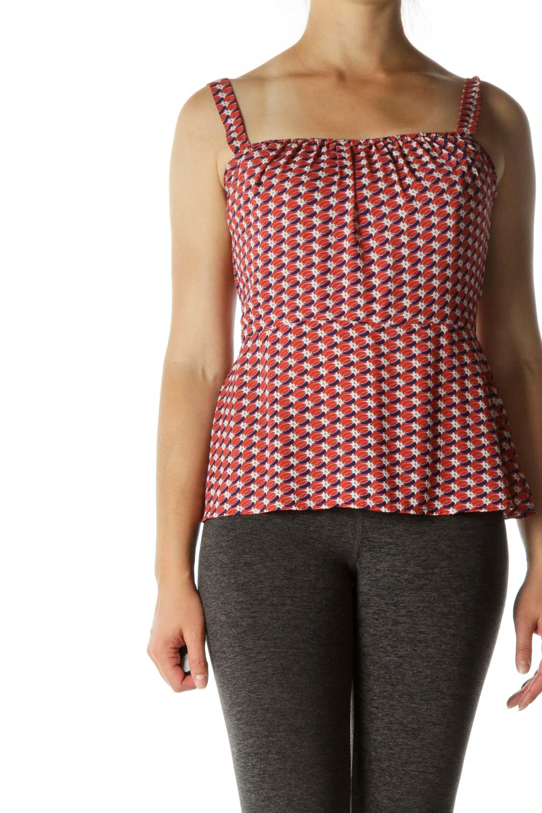 Red Patterned Smocked Tank Top Front