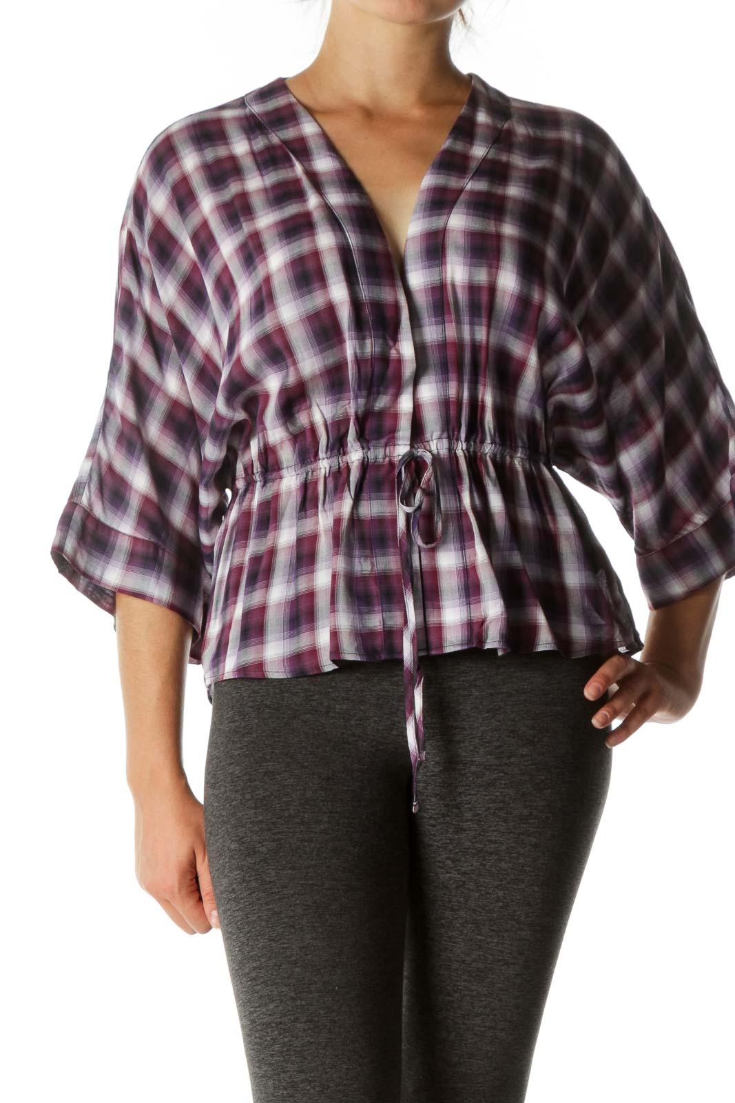 Purple Plaid Waist-Tie Blouse  Front