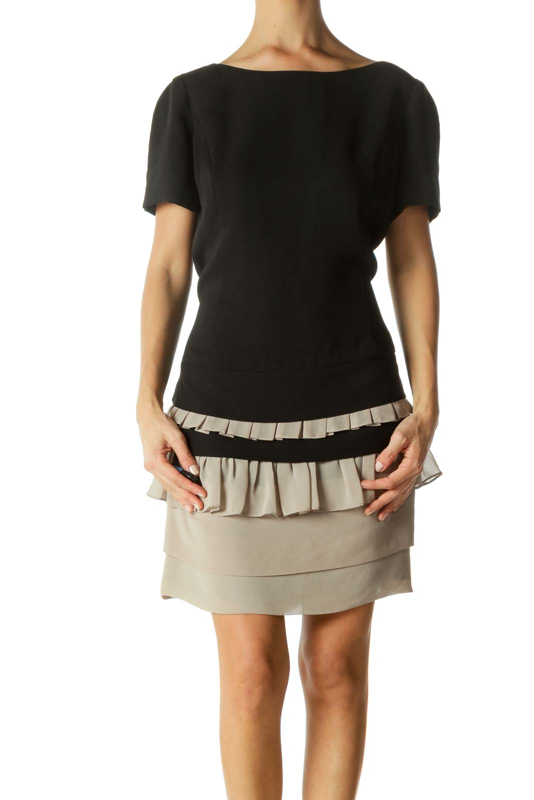 Black Beige Round Neck Short Sleeve Flared Cocktail Dress Front