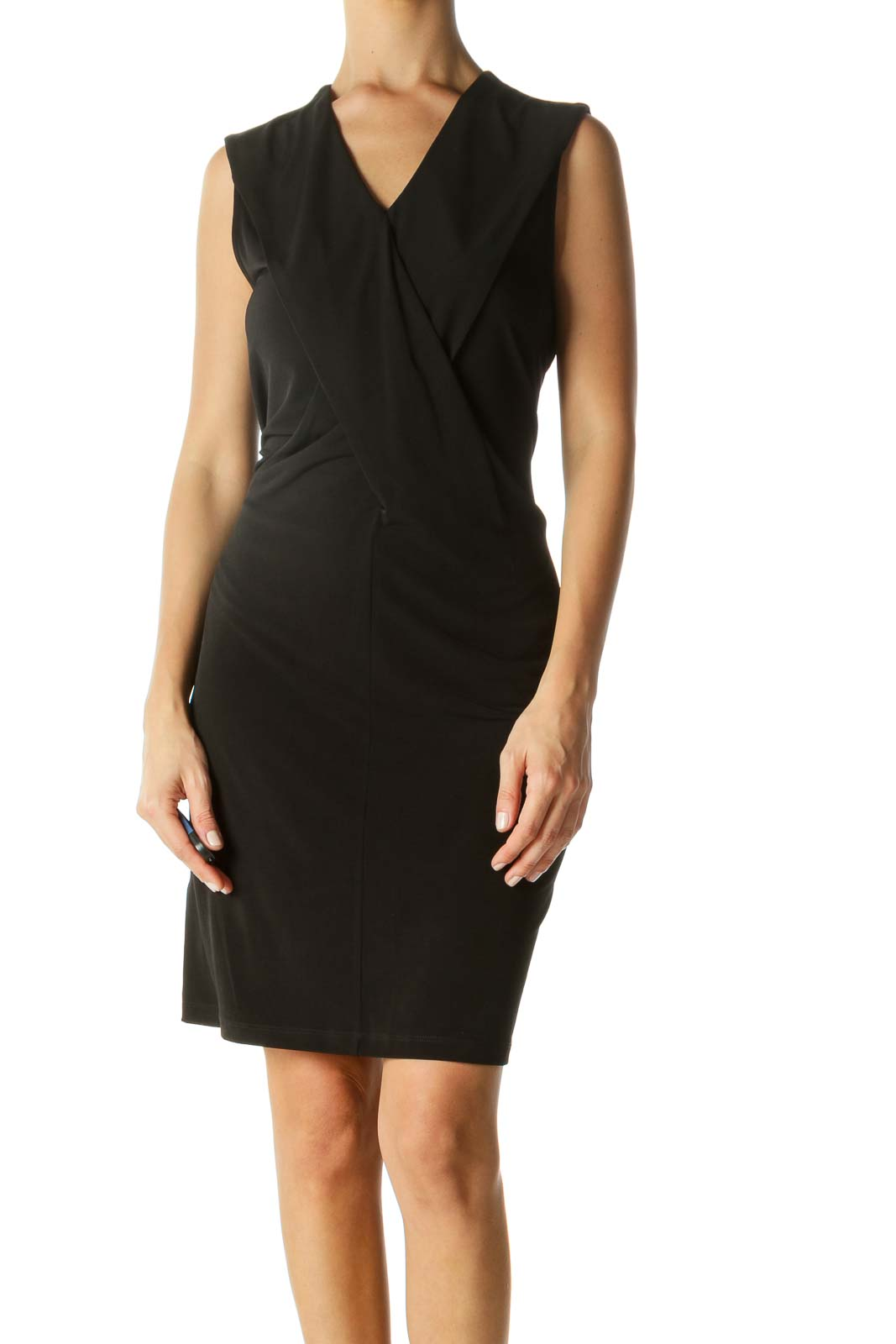 Black V-Neck Stretch Front Detail Work Dress Front