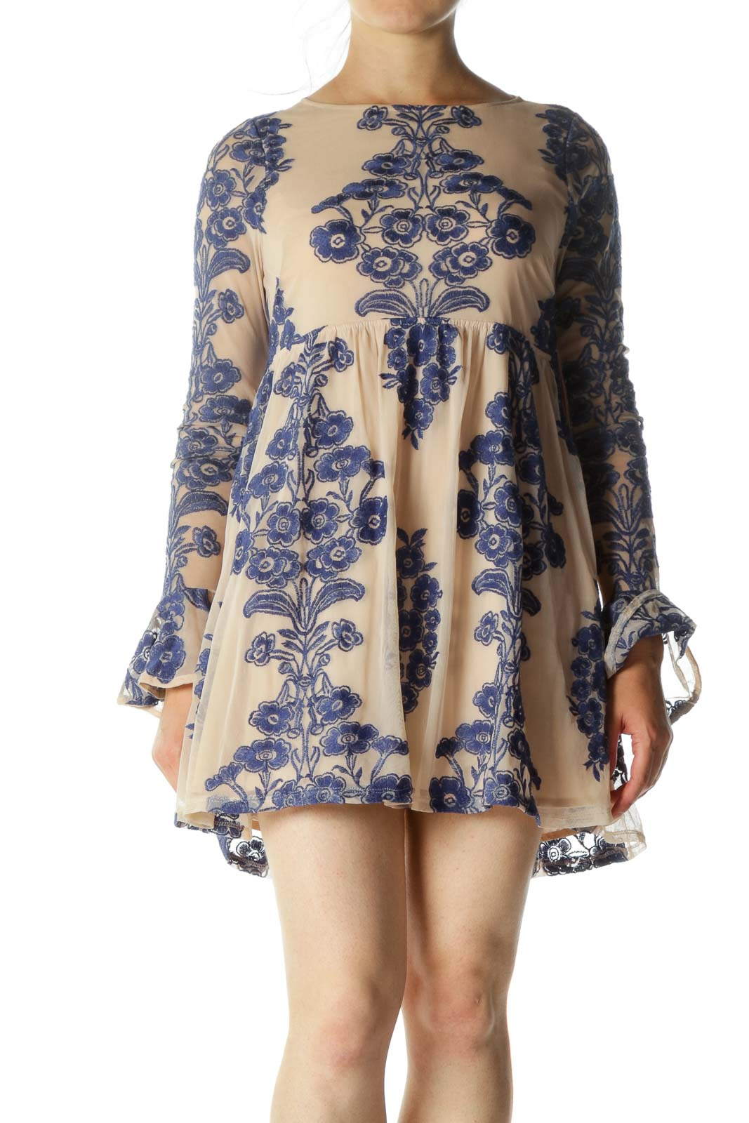 Blue Beige Round Neck Floral Embroidery Lace Body Cocktail Dress Front