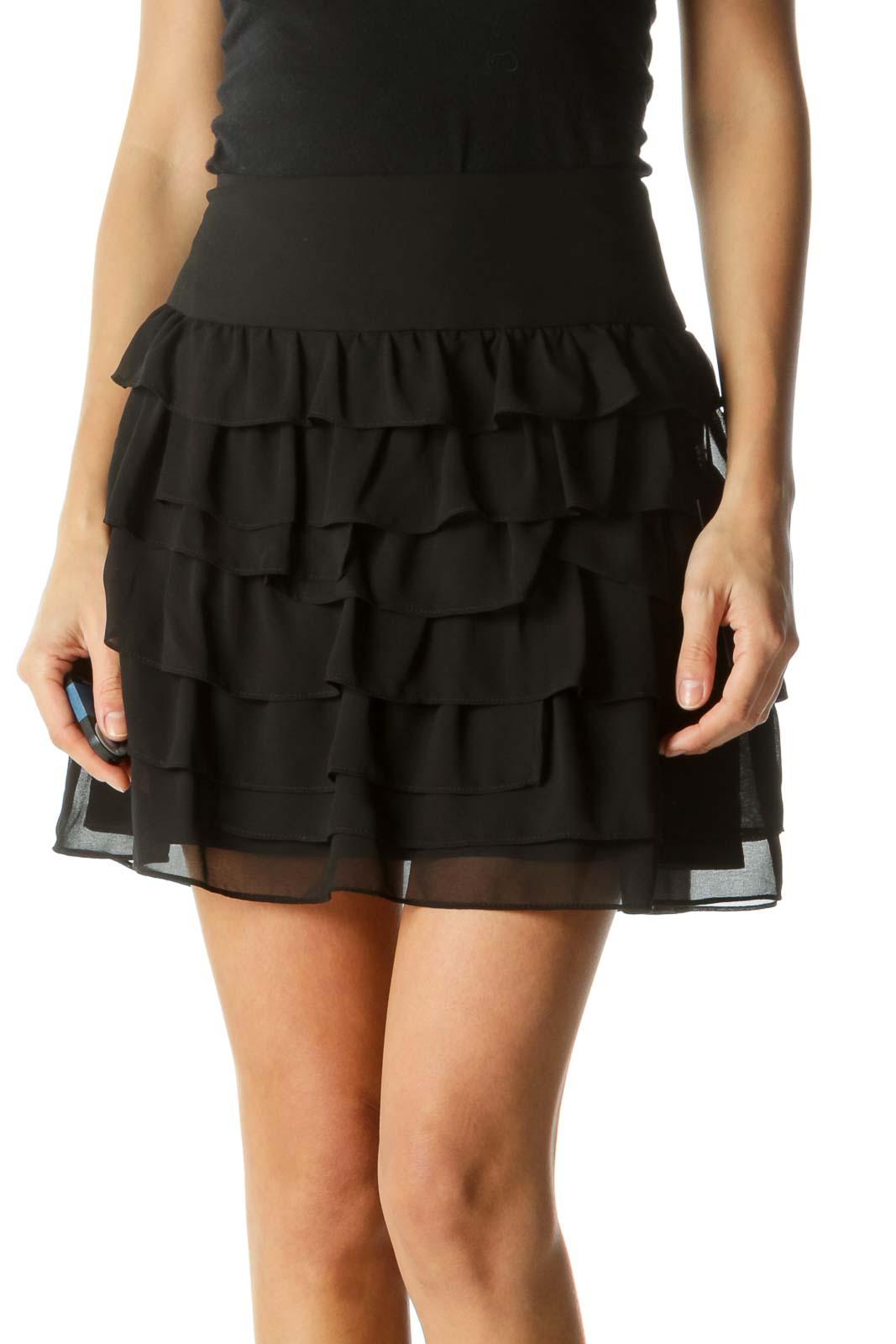 Black Layered MIni Skirt  Front