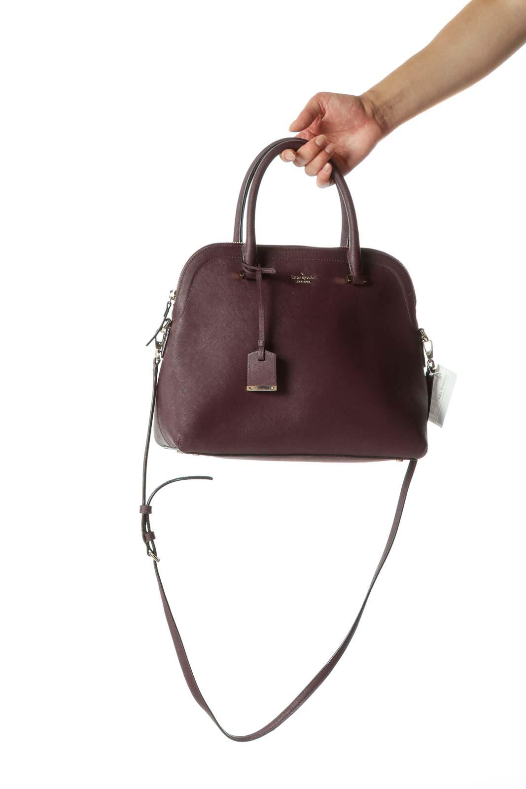 Purple zippered Kate Spade Riley Satchel Front