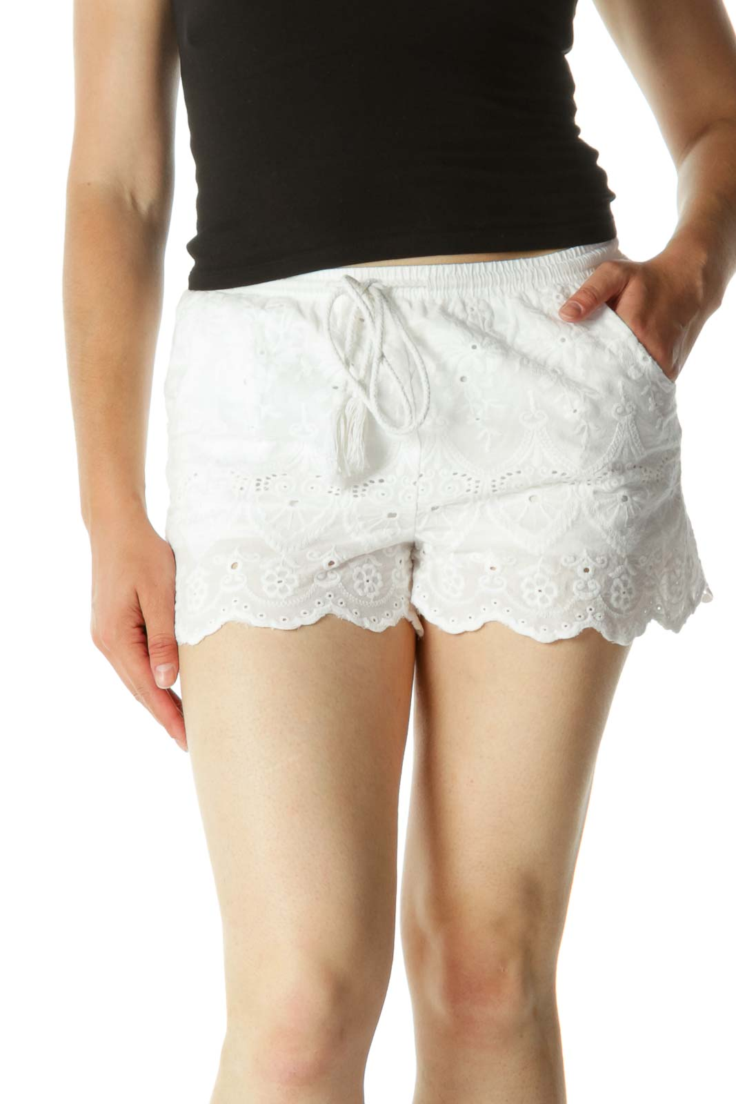 White Embroidered Drawstring Shorts Front